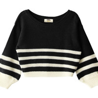 Striped Black-White Cropped Sweater