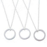 MJartoria Best Friends Forever Engraved Ring Pendant Friendship Charm Necklace Set of 3 Silver Color