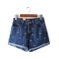 Summer Women's Fashion High Rise Rinsed Denim Embroidery Denim Shorts [6034179009]