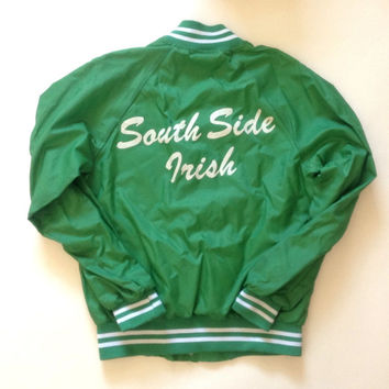 ON SALE - Chicago South Side Irish Green Jacket - Button up Spring Jacket - Made in the USA