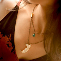 Mink Jaw Taxidermy, Turquoise and Bullet Necklace