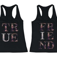 Floral True Friend Matching BFF Tank Tops - 365 Printing Inc