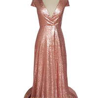 Short Sleeves Rose Gold Sequins Bridesmaid Dress /Formal Gown  AM526
