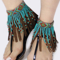 TRIBAL DESIGN LAYERED SEED BEAD AND SUEDE FRINGE ANKLET