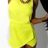 Yellow Sleeveless Layered Romper