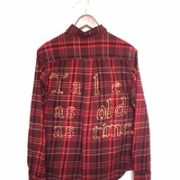 """Plaid Disney Shirt, """"Tale as old as time."""" Beauty and the Beast Flannel Burgundy + Maroon"""