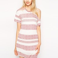 Pencey Standard Printed T-Shirt Dress With One Shoulder - Stripe