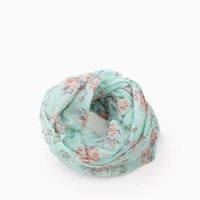 Mint Green Floral Print Infinity Scarf