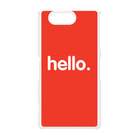 Hello White Hard Plastic Case for Sony Xperia Z3 Mini by textGuy