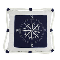 Blue Compass With Nautical Rope Decorative Throw Pillow