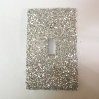 single light switch cover silver glitter by theemae74 on etsy