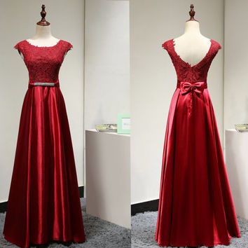 Red Long Formal Evening Dress for Women with Sparkly Belt Lace Cap Sleeves Venice Lace Satin Long Prom Dress Bridesmaid Dress
