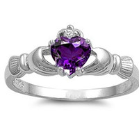 925 Sterling Silver CZ Claddagh Benediction Simulated Amethyst Ring 9MM