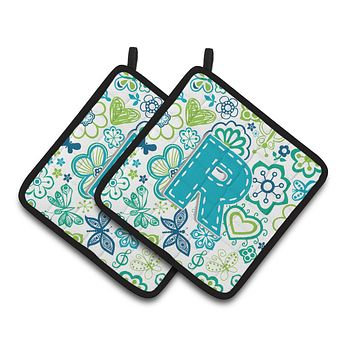 Letter R Flowers and Butterflies Teal Blue Pair of Pot Holders CJ2006-RPTHD