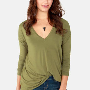 In Clover Olive Green Long Sleeve Top