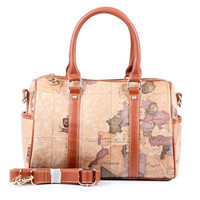Cute World Map Pattern Leather Messenger Bag Shoulder Bag