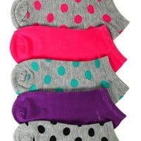 5 pack of no show ankle socks with polka dots - debshops.com
