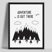 Art Print Poster Minimalist Nordic Black White Typography Adventure Quotes Wall Picture Canvas Painting Boy Room Decor PP092