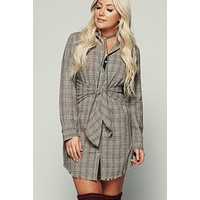 Pretty Little Thing Flannel Plaid Dress (Taupe)