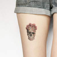 geometrics sugar skull with rose floral crown temporary tattoo - large