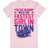 Fastest Girl In Town-Female Light Pink T-Shirt