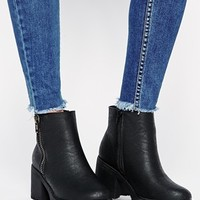 New Look Champ Black Zip Detail Chunky Heeled Ankle Boots at asos.com