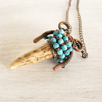Turquoise Antler Copper Wire Wrapped Handmade Jewelry Deer Antler Jewelry