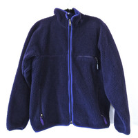 Vintage PATAGONIA Solid Purple Fleece Partial Button-Front Sweater Size XL