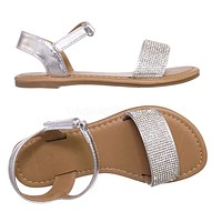 Nice2 Children Grils Rhinestone Flat Sandal - Kids Embellished Jewel Shoes