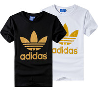 """Adidas"" Unisex Fashion Casual Classic Gold Clover Letter Print Short Sleeve T-shirt Couple Shirt Top Tee"