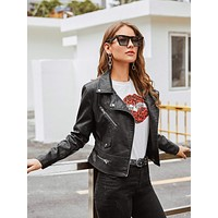 PU Lapel Neck Zipper Biker Jacket