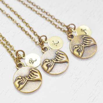 Set of 3 pinky promise personalized jewelry,customized necklaces,monogram necklace,bridesmaid necklace,sister necklace,birthday gift,letter