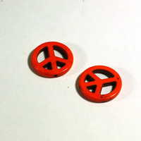 2 Orange Peace Sign Beads: Howlite Peace Sign Beads / 25mm / jewelry making / jewelry supply