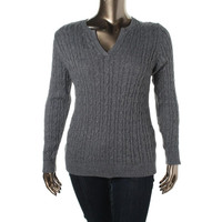 Charter Club Womens Plus Metallic Cable Knit Pullover Sweater