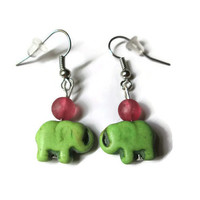 Lime Green Elephant Earrings, Howlite Magnesite and Red Glass Beads, Nickel Free French Ear Wires
