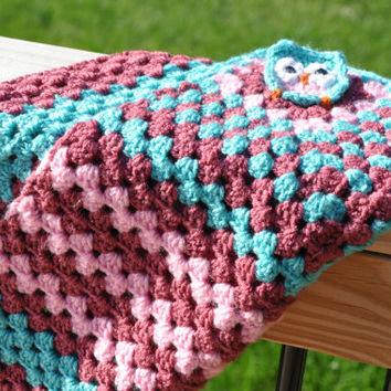 """Pink and Blue Owl Crochet Baby Blanket - Security Blanket 24"""" x 24"""""""
