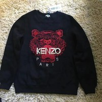 """KENZO"" Lover Unisex Casual Fashion Tiger Head Embroidery Letter Pattern Print Round Neck Long Sleeve Sweater Tops"