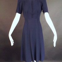 1940s Navy Crepe Dress, Bust-34