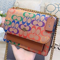 COACH Fashion New Multicolor Pattern Print Leather Chain Crossbody Bag Shopping Leisure Shoulder Bag Brown