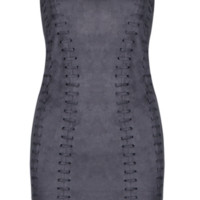 'Comelia' Suedette Halter Dress - Grey