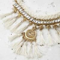 Tassel and Rhinestone Rope Necklace
