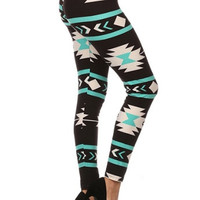 Aztec Print Leggings - Mint