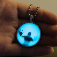 The explosion of a luminous necklace creative punk luminous necklace Halloween (Color: Blue) = 1929791428