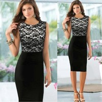 2014 Pinup Elegant Floral Lace Tunic Dress Knee-Length Colorblock Shift  Casual Pencil Dress = 5709676865