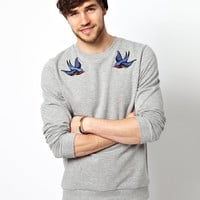 ASOS Sweatshirt With Swallows Embroidery