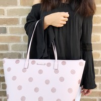 Kate Spade Haven Lane Large Hani Tote Glitter Pink Polka Dot Handbag