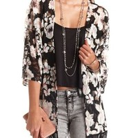 Floral Print Lace Fringe Kimono Top by Charlotte Russe - Black Combo