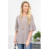 Caperno Flutter Modal Top |Taupe