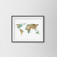 Vintage Inspired World Map Print. Map Art. Minimalist Wall Art. Office Decor. Travel Print. Wanderlust. Modern Home Decor.