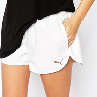 Puma Mini Shorts In Leather Look Mesh at asos.com